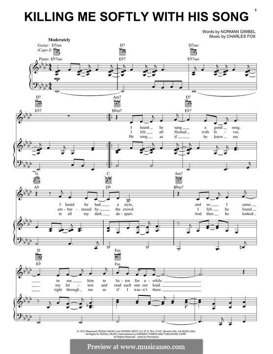 Killing Me Softly with His Song: Para vocais e piano (ou Guitarra) by Charles Fox