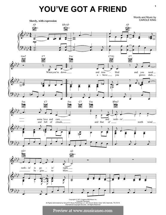 You've Got a Friend: Para vocais e piano (ou Guitarra) by Carole King