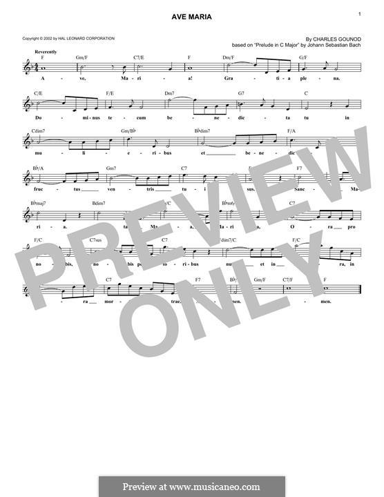 Ave Maria (Printable Sheet Music): melodia by Johann Sebastian Bach, Charles Gounod