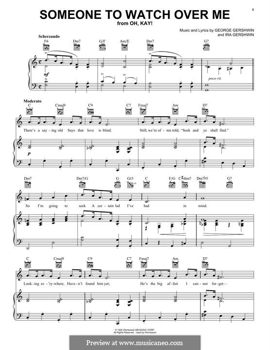 Someone To Watch Over Me (from Oh, Kay!): Para vocais e piano (ou Guitarra) by George Gershwin