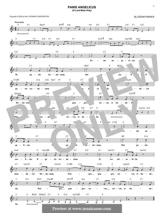 Panis Angelicus (O Lord Most Holy), Printable Scores: melodia by César Franck