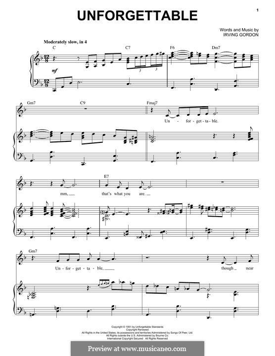 Unforgettable: Para vocais e piano by Irving Gordon