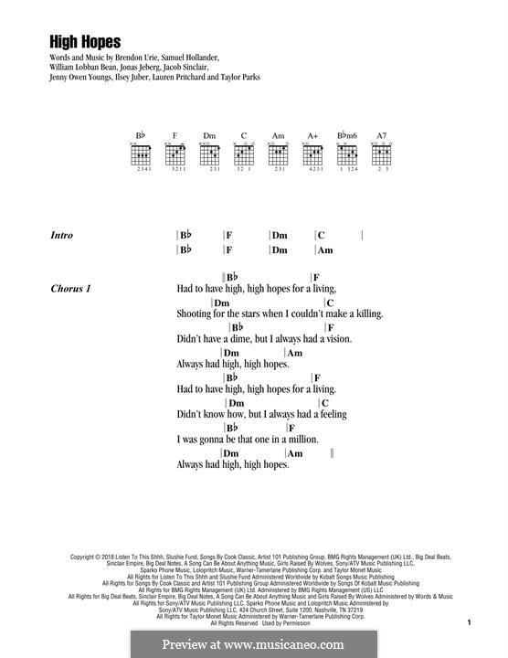High Hopes (Panic! At The Disco): Letras e Acordes by Brendon Urie, Jonas Jeberg, Sam Hollander, Jacob Sinclair, William Lobban-Bean