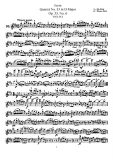 String Quartet No.33 in D Major, Hob.III/42 Op.33 No.6: violino parte I by Joseph Haydn