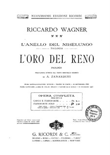 The Rhine Gold, WWV 86a: arranjo para piano by Richard Wagner