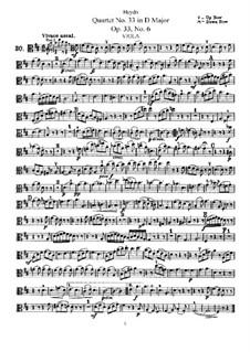 String Quartet No.33 in D Major, Hob.III/42 Op.33 No.6: parte viola by Joseph Haydn