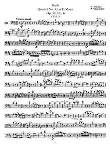 String Quartet No.33 in D Major, Hob.III/42 Op.33 No.6: parte violoncelo by Joseph Haydn