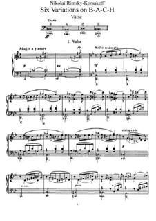 Six Variations on the Theme BACH, Op.10: Para Piano by Nikolai Rimsky-Korsakov