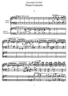 Concerto for Piano and Orchestra in F Sharp Minor, Op.20: Versão para dois pianos de quatro mãos by Alexander Scriabin