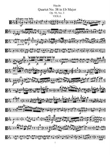 String Quartet No.38 in E Flat Major, Hob.III/46 Op.50 No.3: parte viola by Joseph Haydn