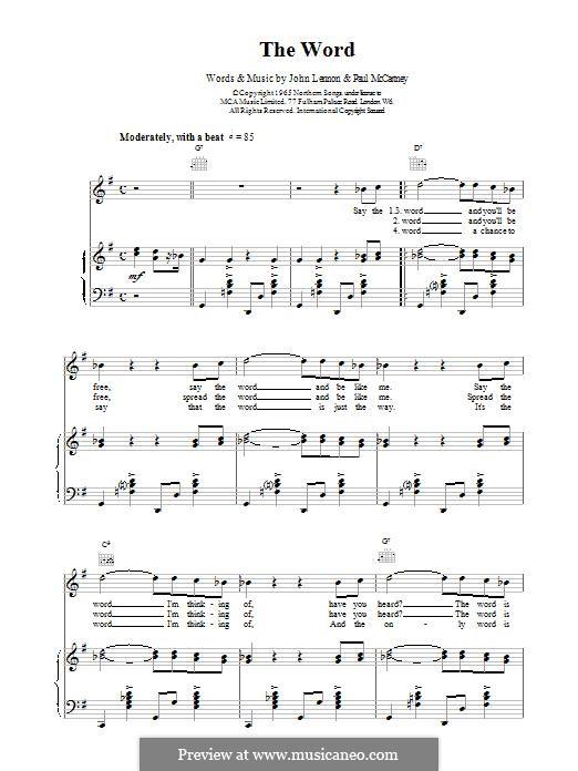 The Word (The Beatles): Para vocais e piano (ou Guitarra) by John Lennon, Paul McCartney