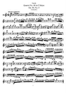 String Quartet No.40 in F Major, Hob.III/48 Op.50 No.5: violino parte I by Joseph Haydn