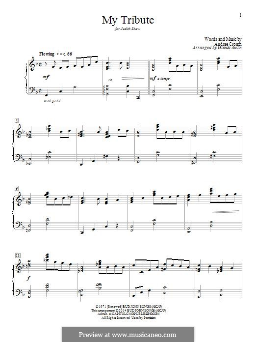 My Tribute: Para Piano by Andrae Crouch