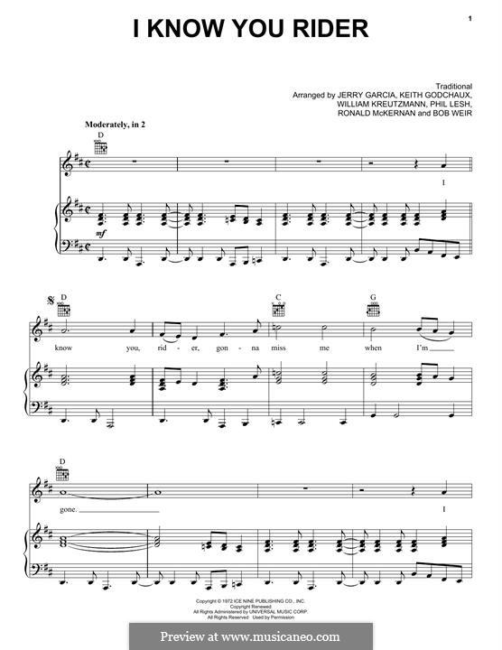 I Know You, Rider: Para vocais e piano (ou Guitarra) by folklore