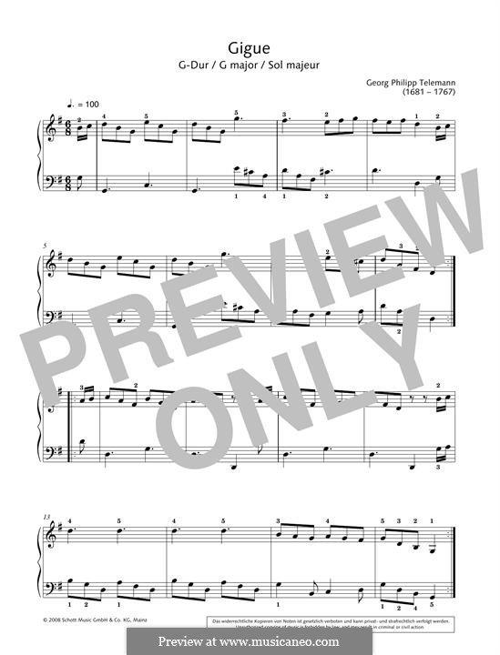 Gigue in G major: Para Piano by Georg Philipp Telemann