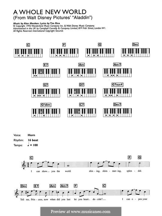 A Whole New World (from Aladdin): para teclado by Alan Menken