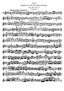 String Quartet No.46 in F Minor 'Razor', Hob.III/61 Op.55 No.2: violino parte I by Joseph Haydn