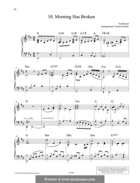 Morning Has Broken: Para Piano by folklore