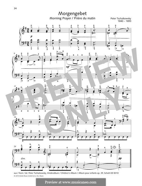No.1 Morning Prayer: Para Piano by Pyotr Tchaikovsky