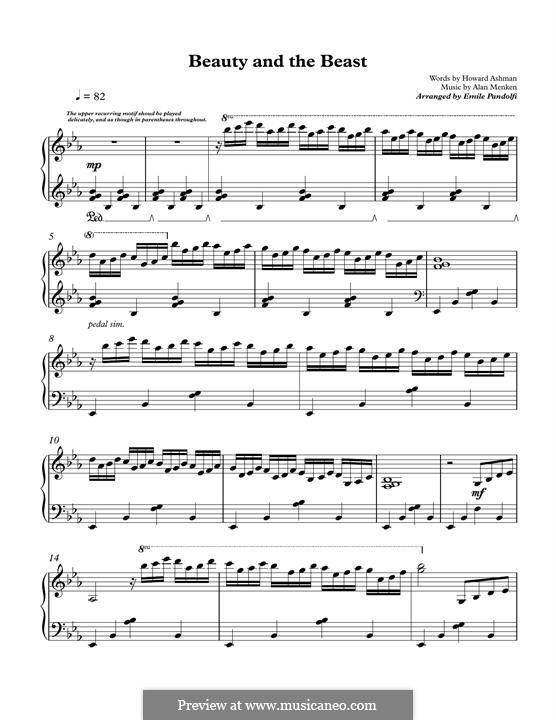 Beauty and the Beast (Celine Dion and Peabo Bryson), for Piano: para um único musico (Editado por H. Bulow) by Alan Menken
