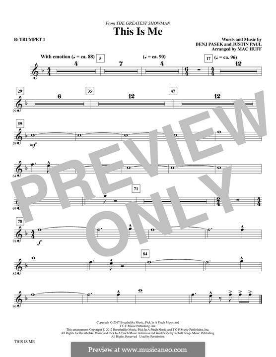 This is Me: Bb trumpet 1 part (arr. Mac Huff) by Justin Paul, Benj Pasek