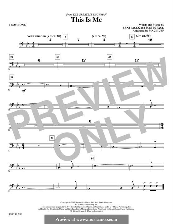 This is Me: Trombone part (arr. Mac Huff) by Justin Paul, Benj Pasek