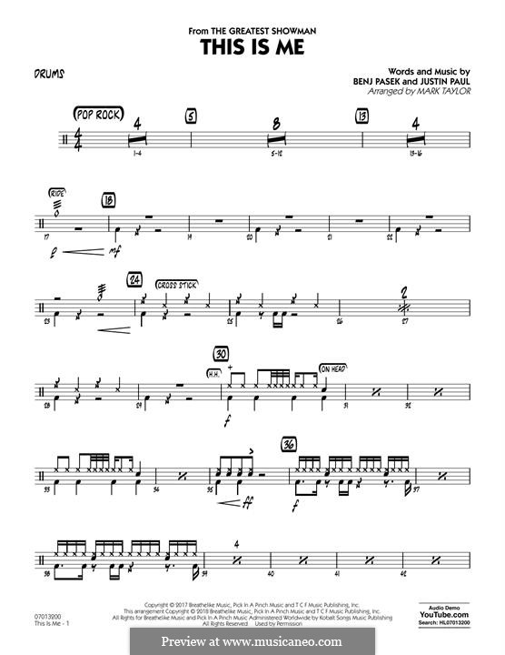 This is Me: Drums part (arr. Mark Taylor) by Justin Paul, Benj Pasek