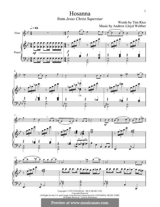 Hosanna (from Jesus Christ Superstar): para flauta e piano by Andrew Lloyd Webber