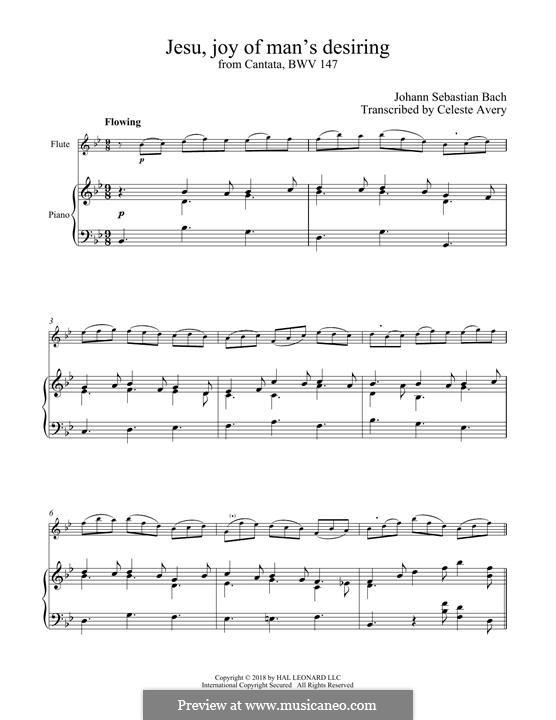 Jesu, Joy of Man's Desiring (Printable Scores): para flauta e piano by Johann Sebastian Bach