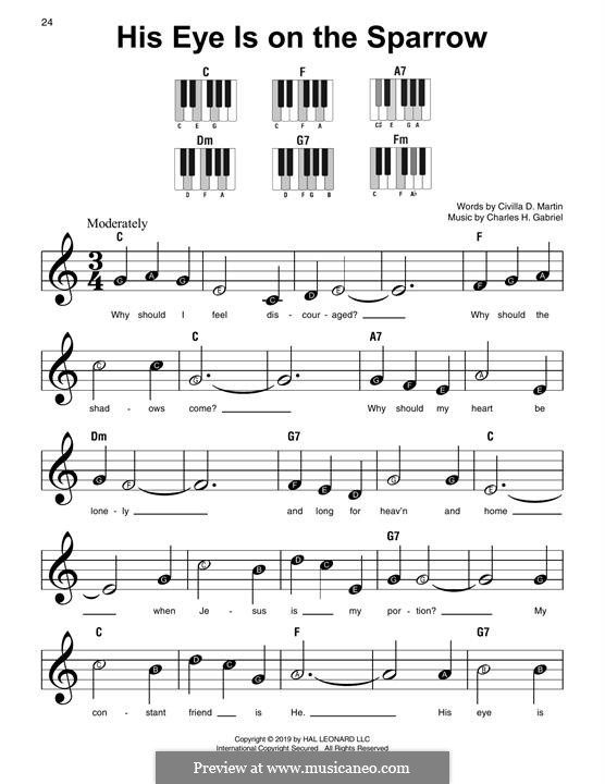 His Eye Is on the Sparrow (Ethel Waters): Para Piano by Charles Hutchinson Gabriel