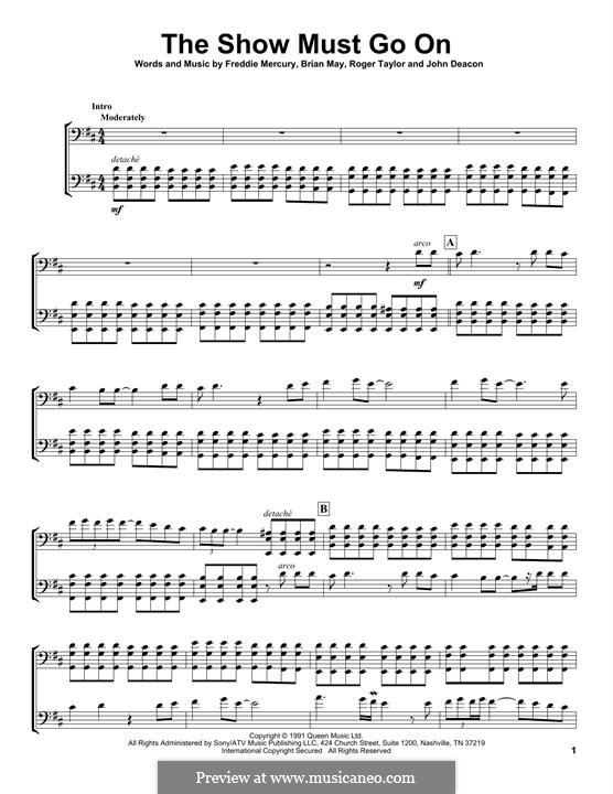 The Show Must Go On (Queen): para dois violoncelo by Brian May, Freddie Mercury, John Deacon, Roger Taylor