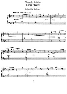 Three Pieces, Op.45: Para Piano by Alexander Scriabin
