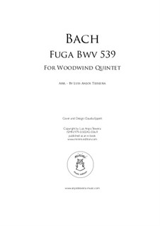 Prelude and Fugue No.9 in D Minor, BWV 539: Fuga for woodwind quintet by Johann Sebastian Bach