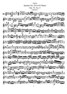String Quartet No.56 in E Flat Major, Hob.III/71 Op.71 No.3: violino parte I by Joseph Haydn