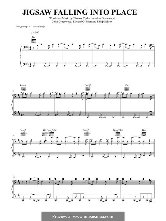Jigsaw Falling Into Place (Radiohead): Para vocais e piano (ou Guitarra) by Colin Greenwood, Ed O'Brien, Jonny Greenwood, Phil Selway, Thomas Yorke