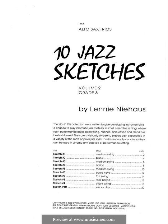 10 Jazz Sketches: Volume 2 (altos) by Lennie Niehaus