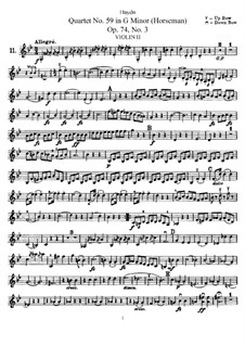 String Quartet No.59 in G Minor 'Rider', Hob.III/74 Op.74 No.3: violino parte II by Joseph Haydn