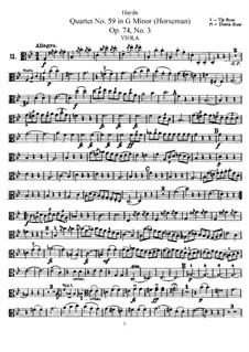 String Quartet No.59 in G Minor 'Rider', Hob.III/74 Op.74 No.3: parte viola by Joseph Haydn