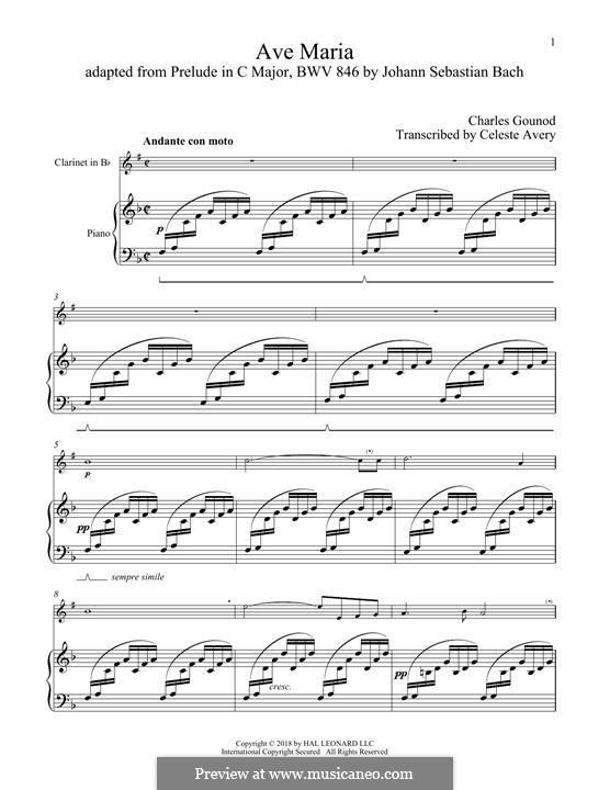Ave Maria (Printable Sheet Music): para clarinete e piano by Johann Sebastian Bach, Charles Gounod