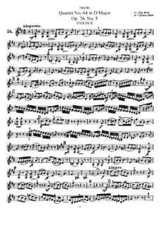 String Quartet No.64 in D Major, Hob.III/79 Op.76 No.5: violino parte II by Joseph Haydn