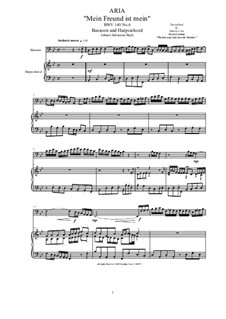 20 Arias from Cantatas for Bassoon and Harpsichord: Aria (Mein Freund ist mein), BWV 40 No.6 by Johann Sebastian Bach