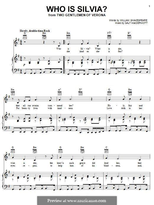 Who is Silvia?: Para vocais e piano (ou Guitarra) by Galt MacDermot