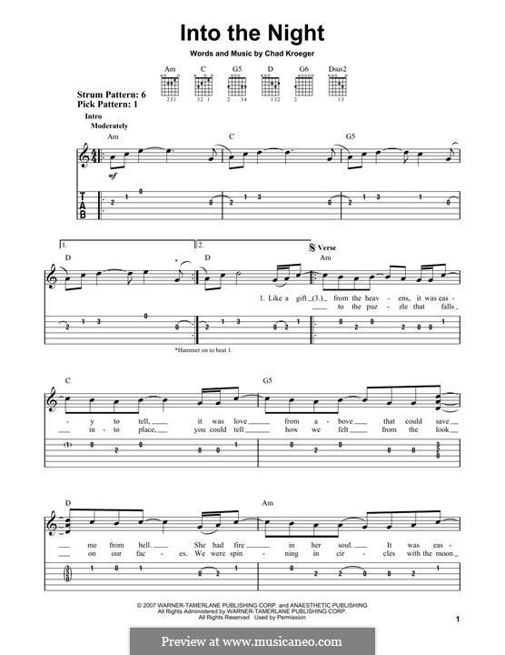Into the Night (Santana): Para guitarra com guia by Chad Kroeger