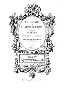 Three Songs of Figaro: Para vocais e piano by Wolfgang Amadeus Mozart