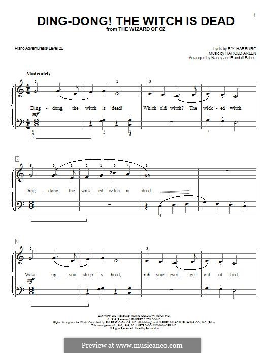 Ding-dong! The Witch Is Dead (from The Wizard of Oz): Facil para o piano by Harold Arlen