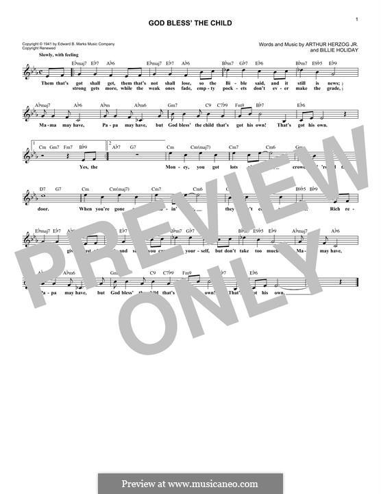 God Bless' the Child (Eva Cassidy): melodia by Arthur Herzog, Billie Holiday