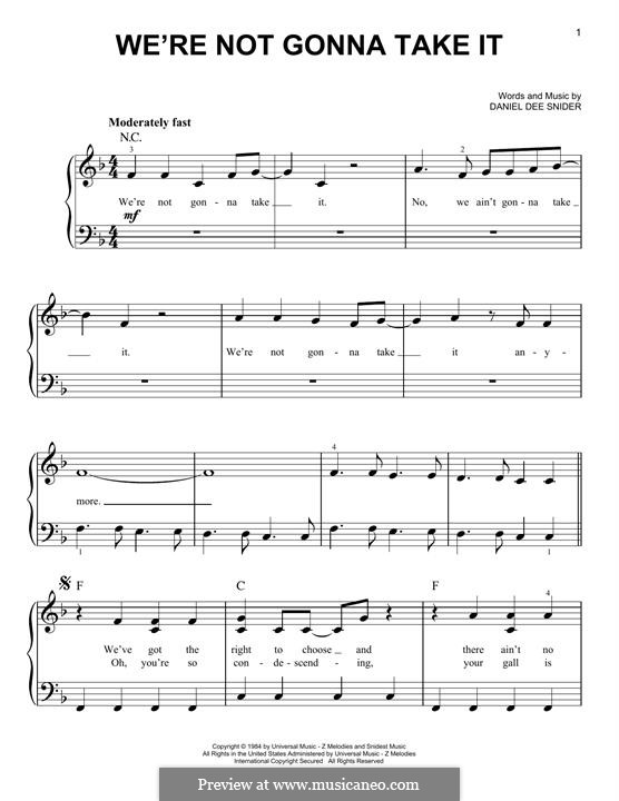 We're Not Gonna Take It (Twisted Sister): Para Piano by Daniel Dee Snider