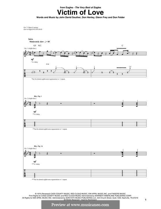 Victim of Love (The Eagles): Para guitarra com guia by Don Henley, Glen Frey, John David Souther