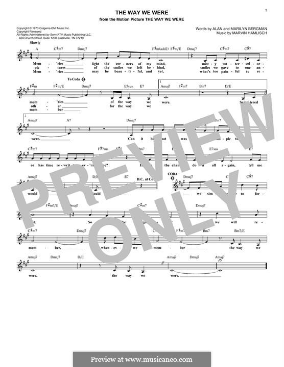 The Way We Were (Barbra Streisand): melodia by Marvin Hamlisch
