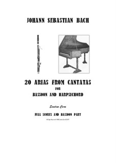 20 Arias from Cantatas for Bassoon and Harpsichord: Scores and part by Johann Sebastian Bach